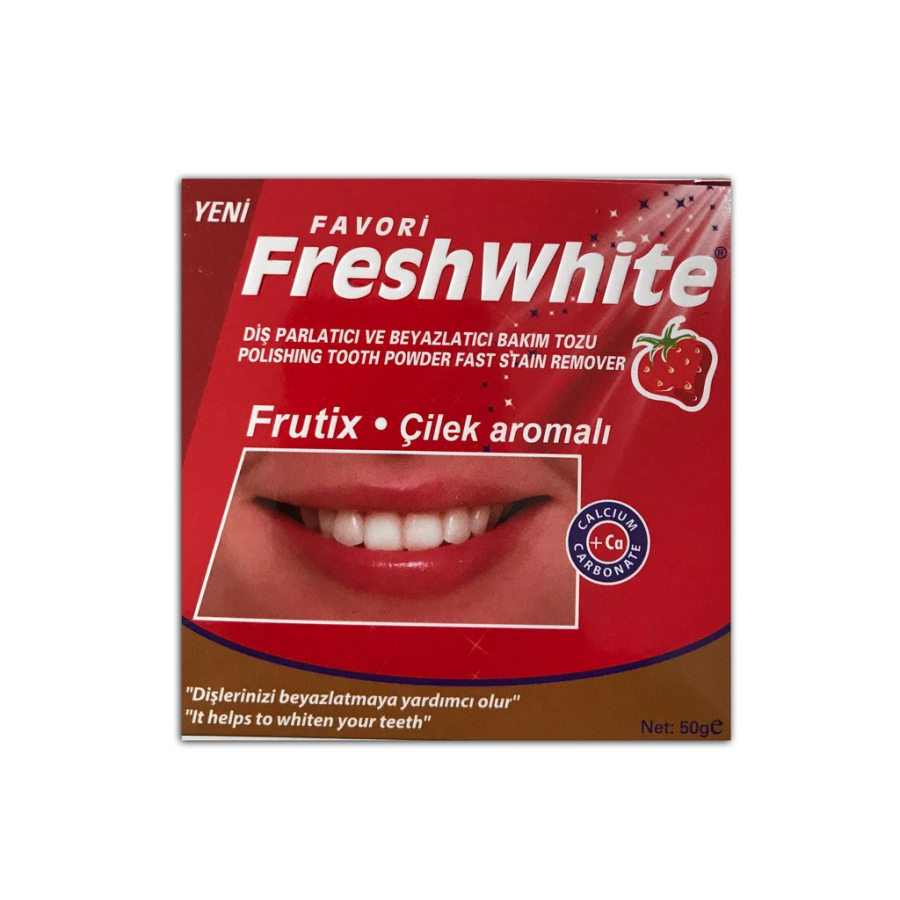 Fresh White Diş Parlatıcı Ve Beyazlatıcı Bakım Tozu 50GR Çilek