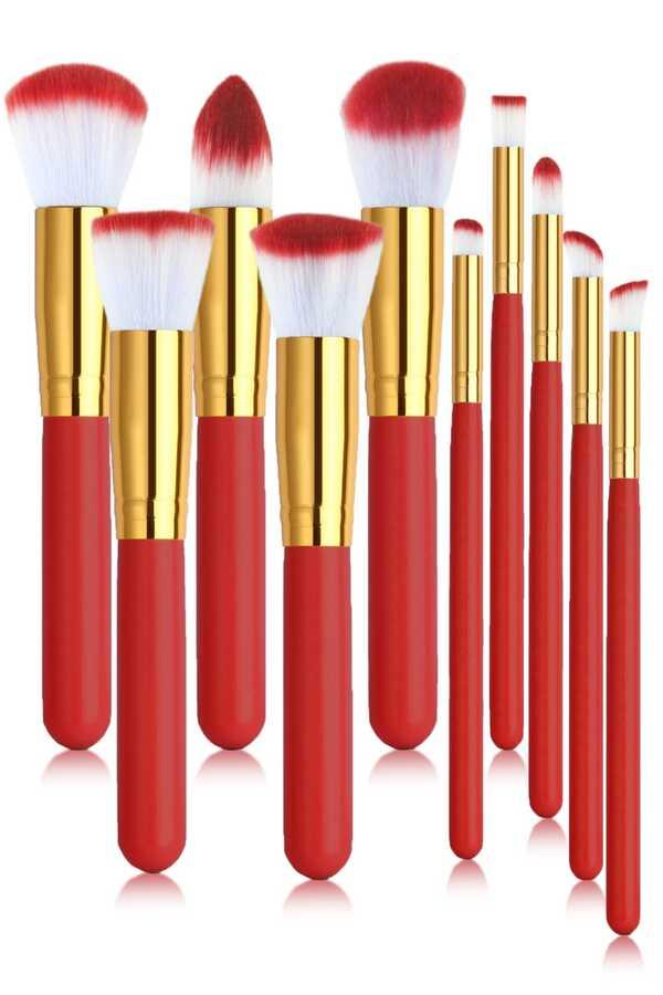 İzla 10 lu Makyaj Fırça Seti Kırmızı