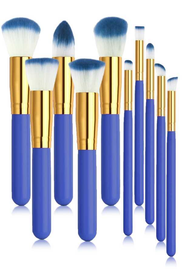 İzla 10 lu Makyaj Fırça Seti Mavi