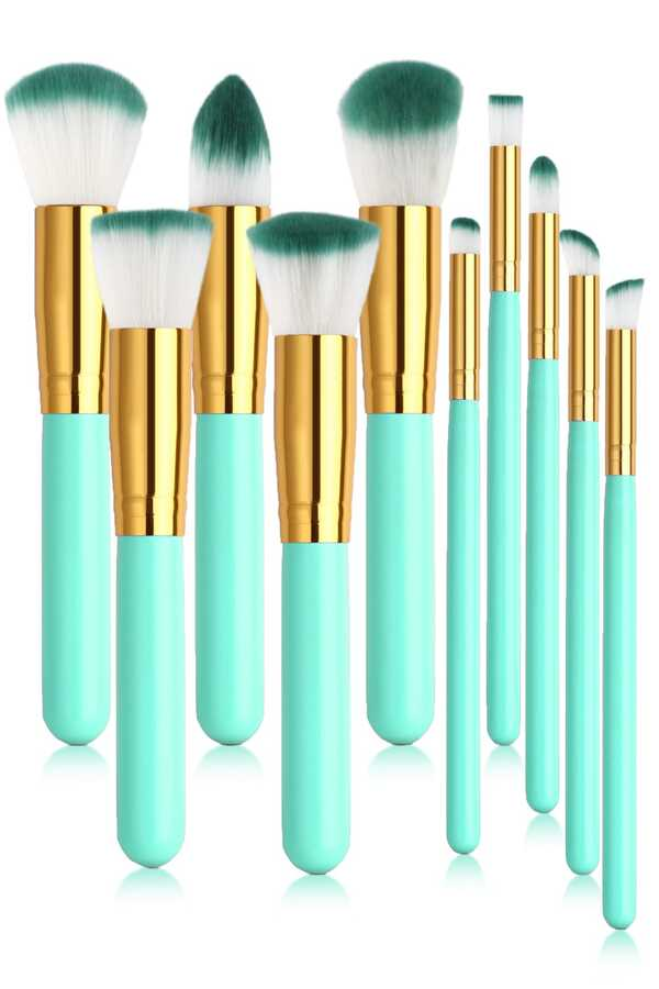 İzla 10 lu Makyaj Fırça Seti Yeşil