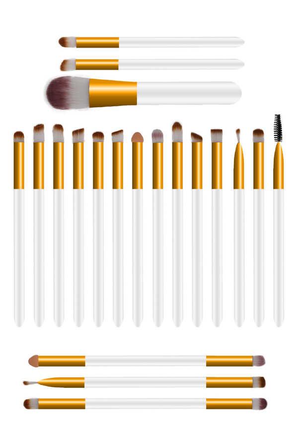 İzla 20 li Gold - Beyaz Makyaj Fırça Seti