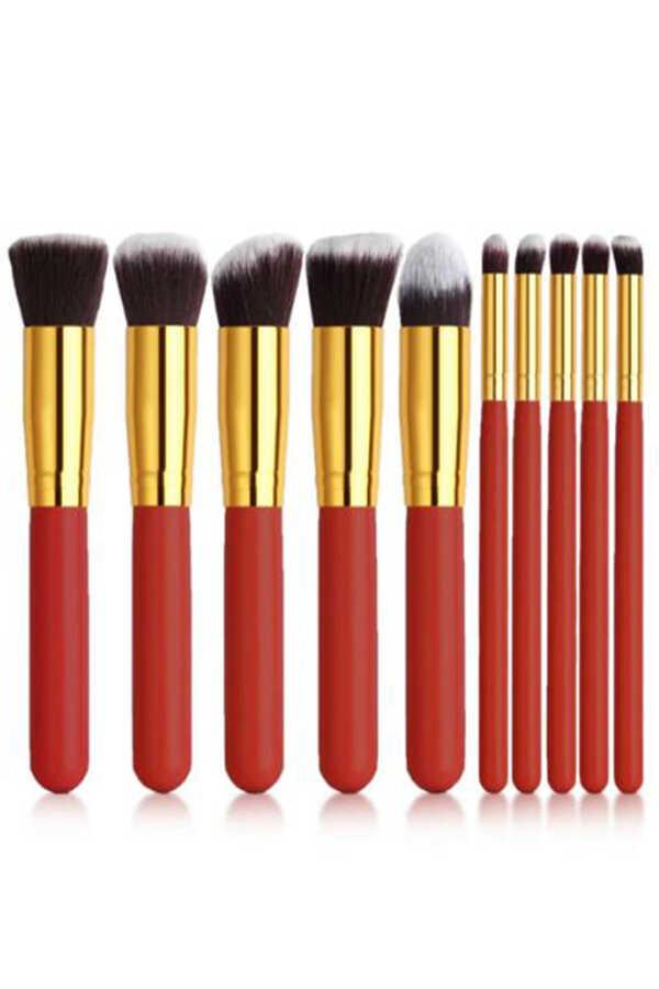 İzla10 lu Makyaj Fırça Seti Kırmızı