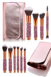 Müjgan Rose Gold Deri Çantalı 10 lu Renkli Elmas Saplı Fırça Seti - Thumbnail
